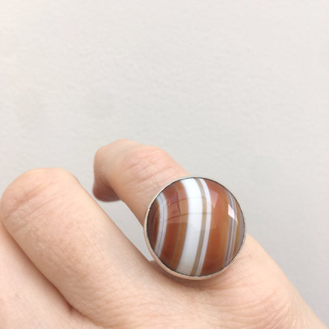 Orange Banded Agate Gemstone Ring in Sterling Silver - worn on hand