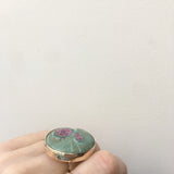 Ruby Fuchsite Gemstone Ring Set in Sterling Silver & 9ct Gold
