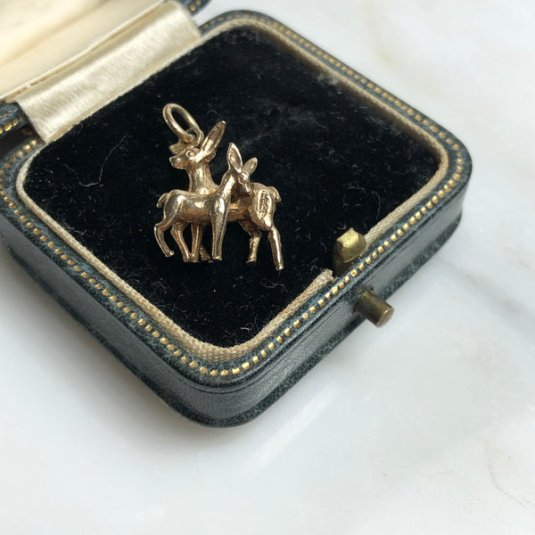 Vintage 9ct Gold Deer & Fawn Charm