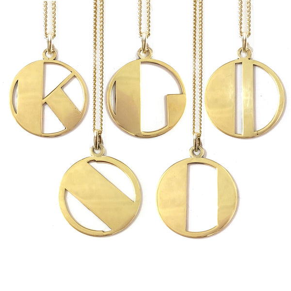 Gold Art Deco Initial Letter N Pendant Necklace