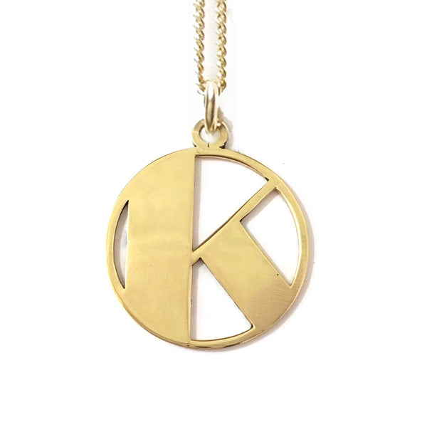 Gold Art Deco Initial Letter K Pendant Necklace
