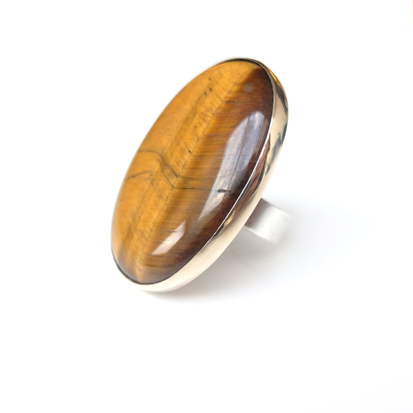 Tigers Eye Gemstone Ring Set in 9ct Gold & Sterling Silver