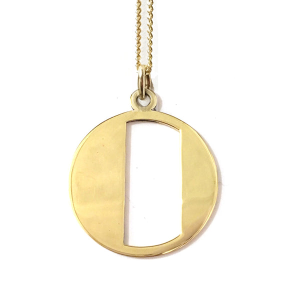 Gold Art Deco Initial Letter O Pendant