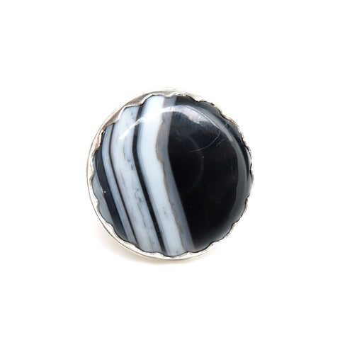 black banded agate gemstone ring in sterling silver