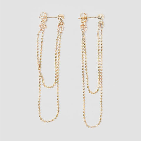 Alice Eden Jewellery Dot Dash Gold Ball Chain Loop Earrings Jewelry