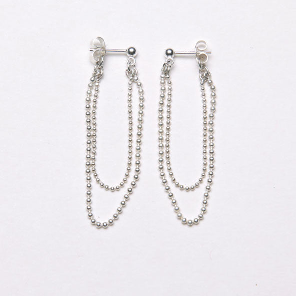 Alice Eden Jewellery Dot Dash Silver Ball Chain Loop Earrings Jewelry