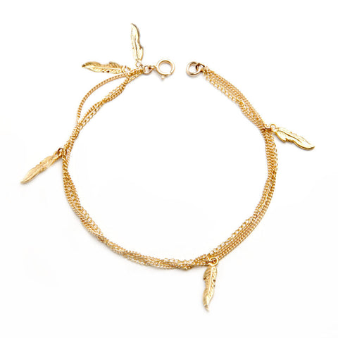 alice eden  jewellery jewelry gold feather layered charm bracelet