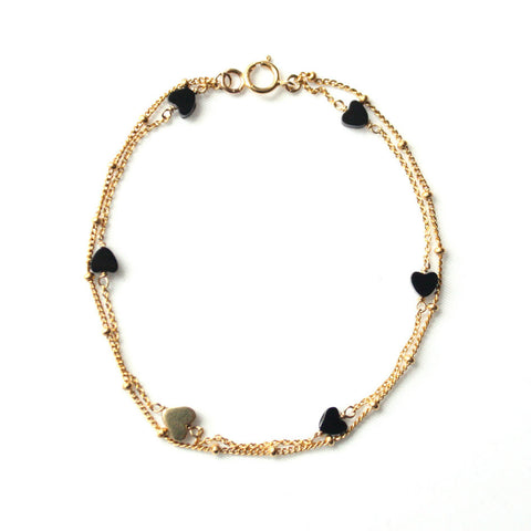 alice eden jewellery jewelry Double layered Gold and Onyx Heart Bracelet
