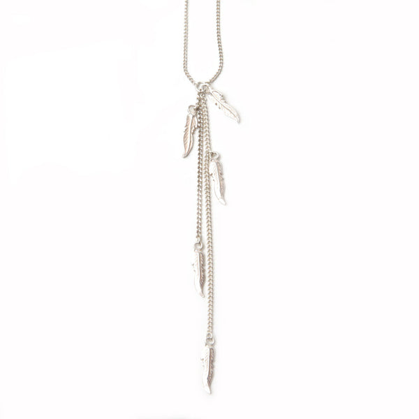 alice eden jewellery jewelry silver feather charm Y lariat necklace