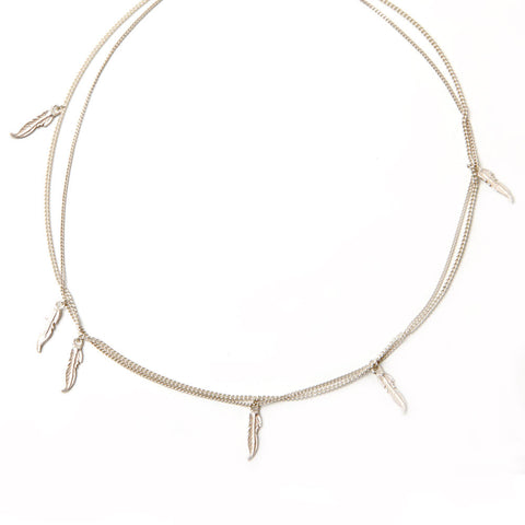 alice eden jewellery jewelry silver feather charm layered chain necklace