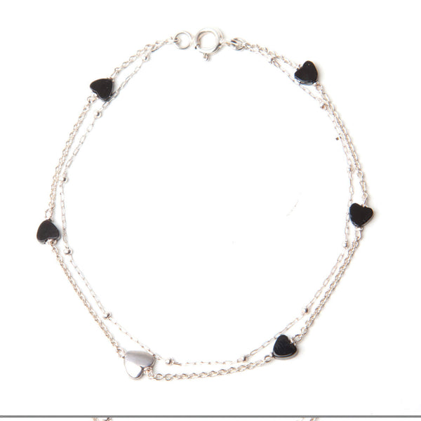alice eden jewellery jewellery Double Layered Silver and Onyx Heart Bracelet