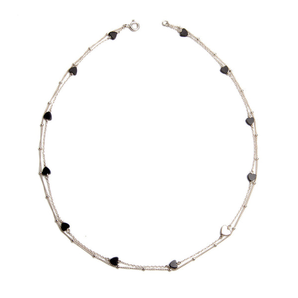 Alice eden Jewellery jewelry double layered silver and onyx heart necklace