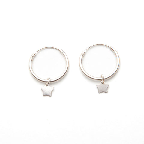 alice eden jewellery jewelry silver star charm hoop earrings creole sleepers
