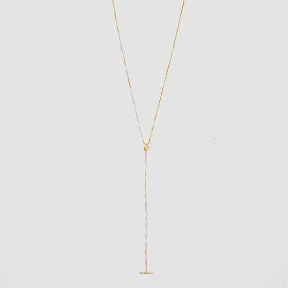 Dot Dash Gold Box Chain Lariat Y-Necklace