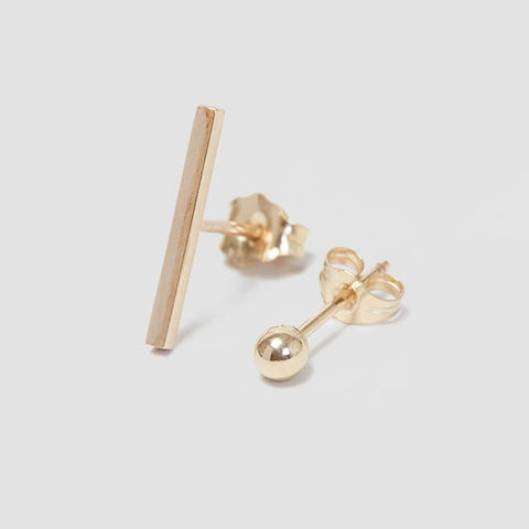 alice eden jewellery Dot Dash Gold Bar and Ball Stud Earrings jewelry