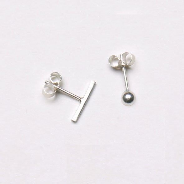 alice eden jewellery Dot Dash Silver Bar and Ball Stud Earrings jewelry