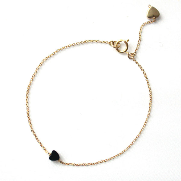 Alice Eden Jewelry Jewellery Delicate Gold and Onyx Love Heart Bracelet