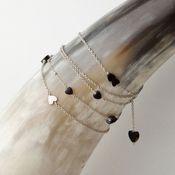 alice eden jewelry jewellery delicate long silver and onyx heart charm necklace