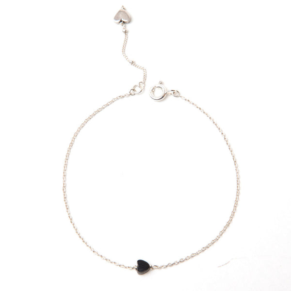 alice eden jewellery jewelry Delicate Silver and Onyx Love Heart Bracelet
