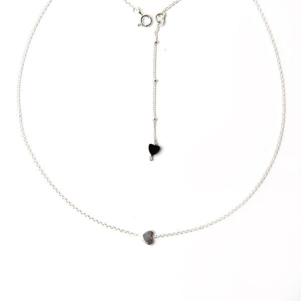 alice eden jewellery jewelry delicate silver and onyx heart necklace