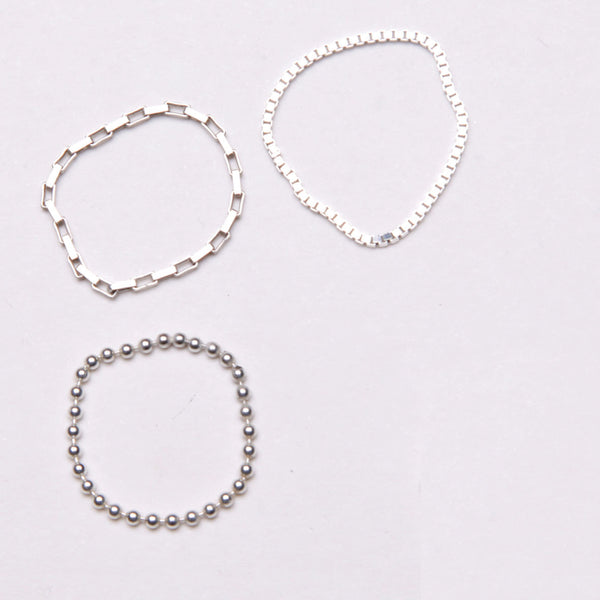 alice eden jewellery Dot Dash silverTriple Chain stacking pinkie Rings jewelry