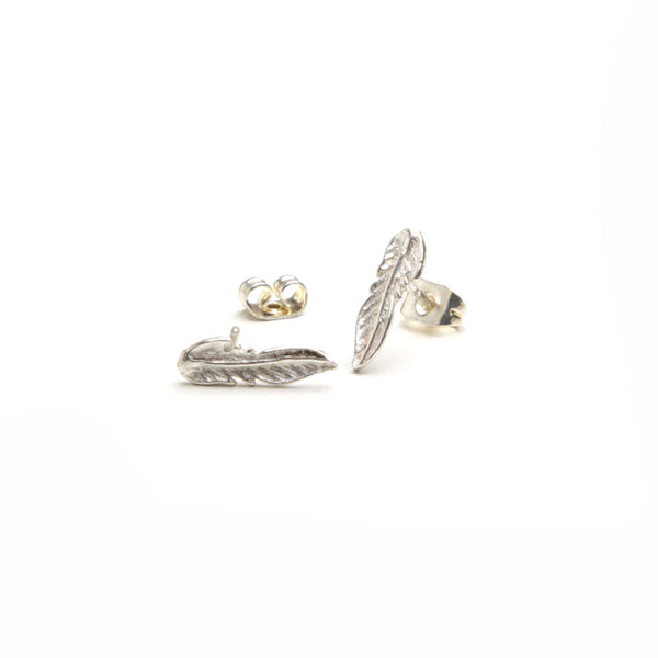 alice eden jewellery jewelry silver feather charm stud earrings