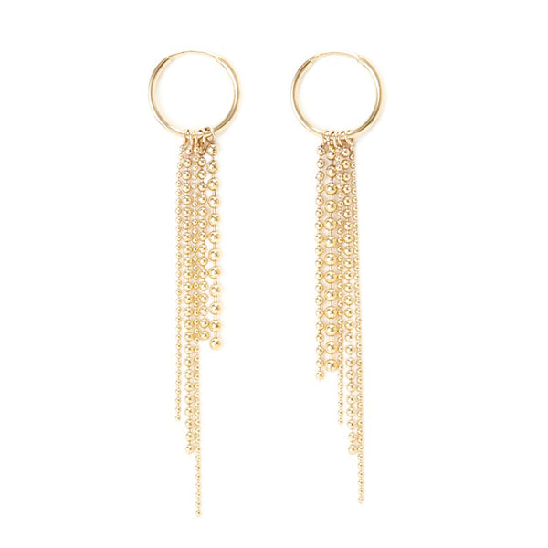 Gold Dot Dash Ball Chain Hoop Earrings