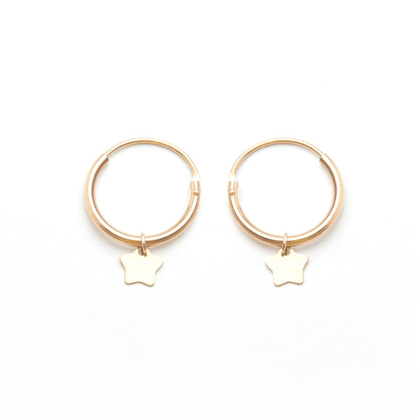 alice eden jewellery jewelry gold star charm hoop earrings creole sleepers