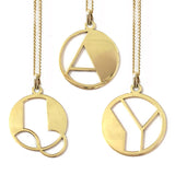 Gold Art Deco Initial Letter A Pendant Necklace