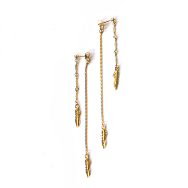 Gold Feather Double Drop Earrings