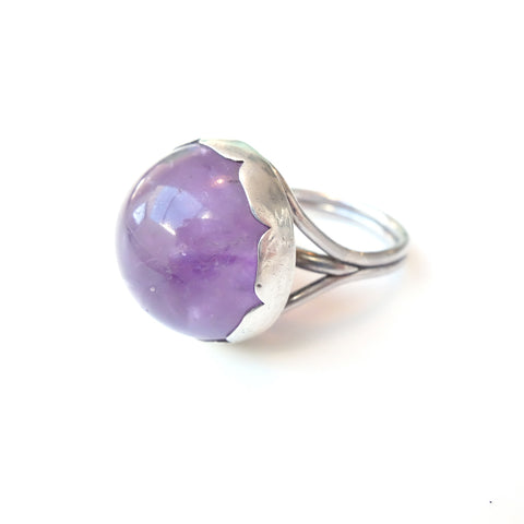 Stunning Amethyst Gemstone Ring Set in Sterling Silver