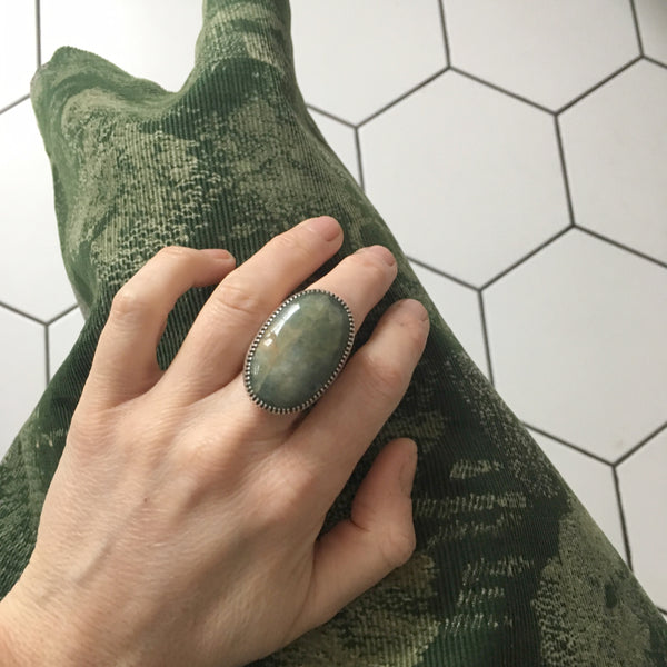 Aventurine Large Oval Gemstone Ring Set in Sterling Silver