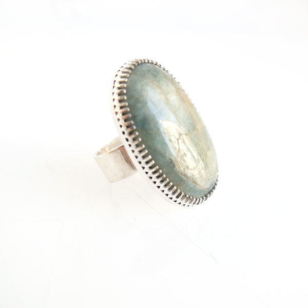 Large Oval Aventurine Gemstone Ring Set in Sterling Silver
