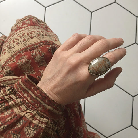 Mexican Lace Agate Gemstone Ring - Silver & Gold - worn on hand