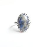 Oval Lapis Lazuli Gemstone Ring set in Sterling Silver