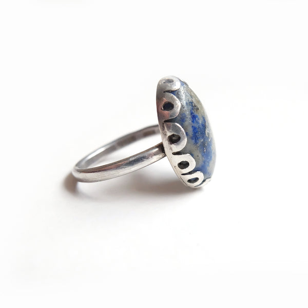 Oval Sodalite Gemstone Ring set in Sterling Silver