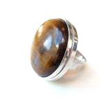 alice eden silver tigers eye modernist statement gemstone ring