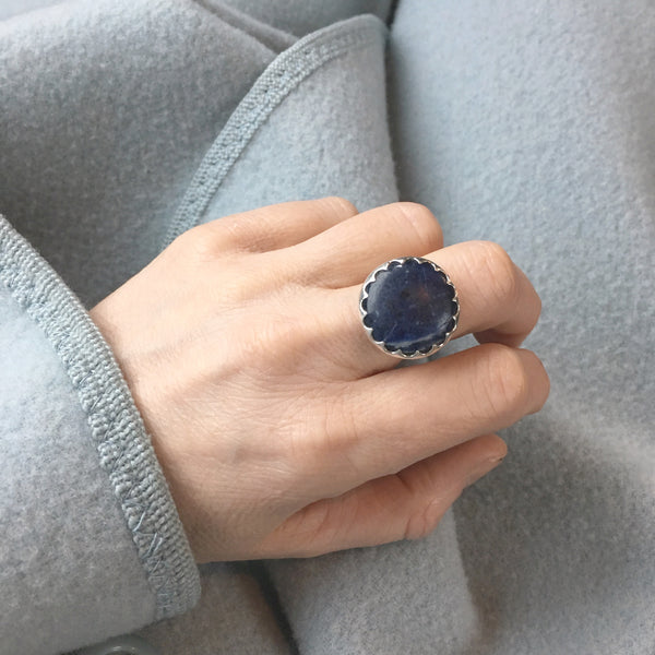 Sodalite Gemstone Ring set in Sterling Silver