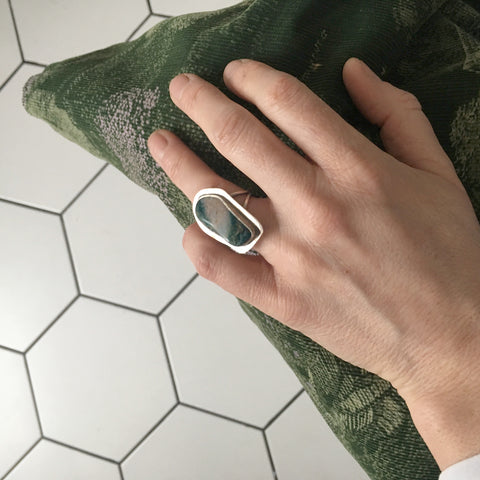 unique shape oval Chrysocolla Gemstone Ring in Silver