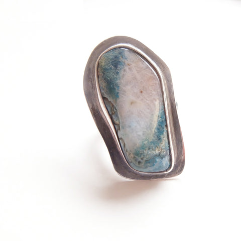 Chrysocolla Gemstone Ring Set in Sterling Silver