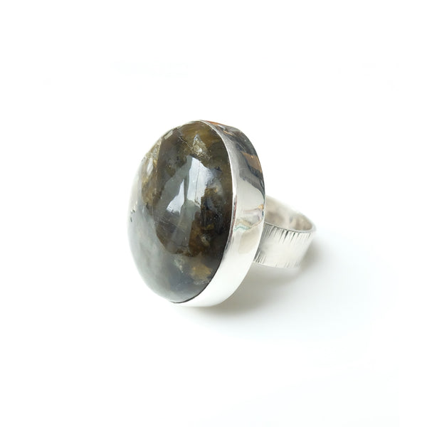 Large Labradorite Gemstone Ring set in Sterling Silver