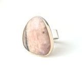 pink peruvian gemstone ring in unusual shape - set in gold with sterling silver ring - front view
