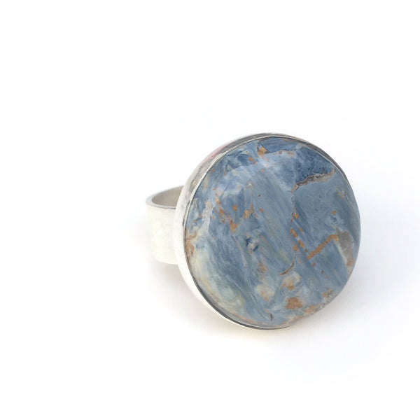 Pietersite Gemstone Ring Set in Sterling Silver