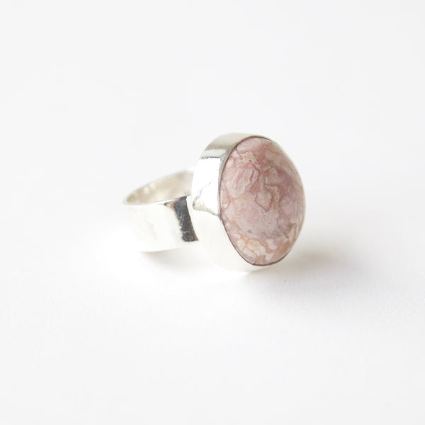 Rhodochrosite gemstone ring in sterling silver - front right side