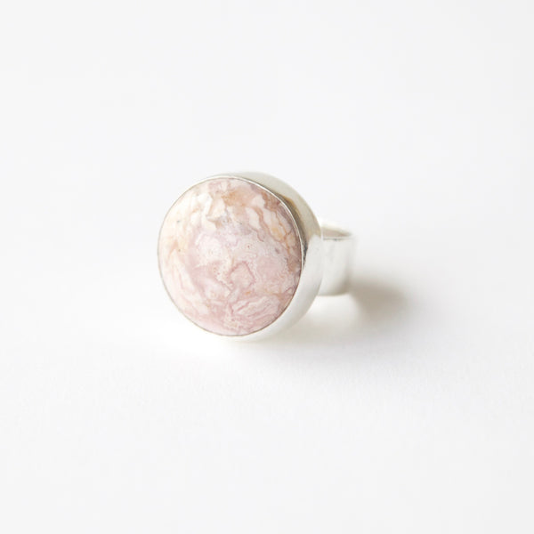 Rhodochrosite gemstone ring in sterling silver - front left side