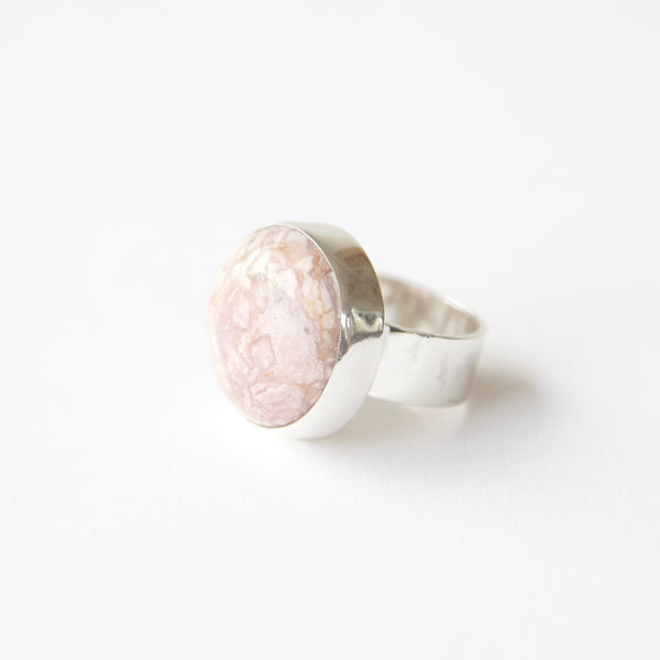 Rhodochrosite gemstone ring in sterling silver - from left