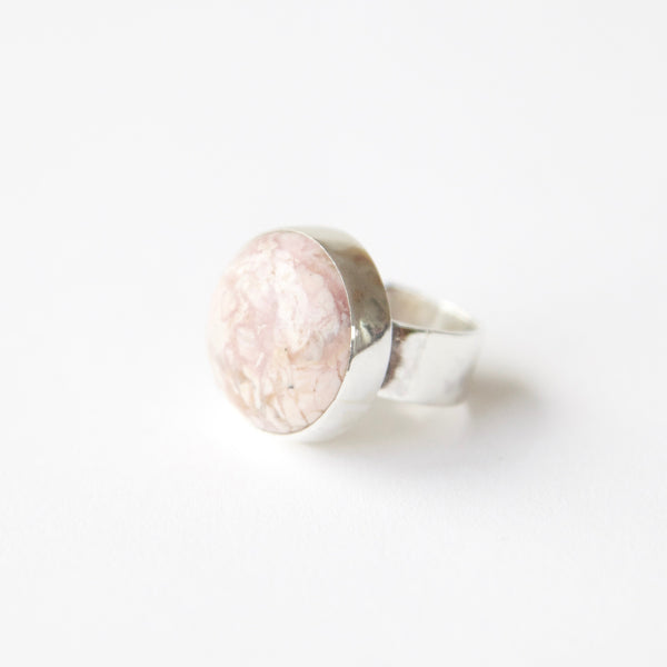 Rhodochrosite gemstone ring in sterling silver - left side