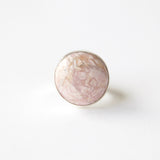 Rhodochrosite gemstone ring in sterling silver