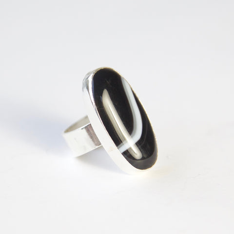 oval black banded agate gemstone ring in sterling silver