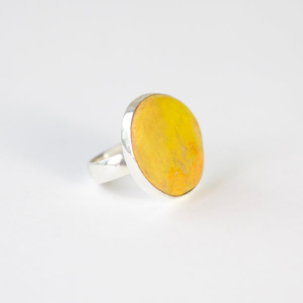 yellow bumble bee jasper in thin silver setting with silver ring